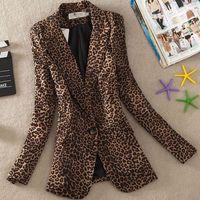 abrigo de manga larga de leopardo al por mayor-Chaqueta de traje de estampado de leopardo de las mujeres Chaqueta femenina de un botón Abrigo casual de manga larga más el tamaño 3Xl