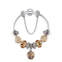 Wholesale pandora style murano beads - 925 Murano Glass Charm Bracelets Bead Christmas yellow Flower CZ Crystal Charms Dangle For Women Original DIY Jewelry Style Fit Pandora