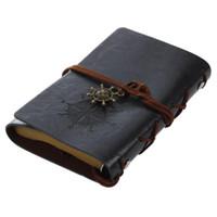 diario encuadernado en cuero vintage al por mayor-venta caliente Retro Vintage Leather Bound páginas en blanco Diario Diary Notebook del