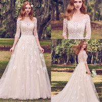 Wholesale Fit Flare Dress White - Modest Sheer Scoop A Line Lace Wedding Dresses 2018 Applique 3 4 Sleeves Fit And Flare Embellished Plus Size Bridal Dress MG