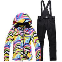 gelbe schneehose großhandel-Gelbe Winter Schneeanzug Sets Zebrastreifen Frauen Ski Snowboard Ski Kleidung winddicht wasserdicht Outdoor-Sport-Jacken + Hosen