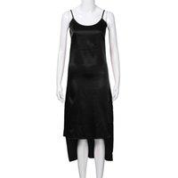 ingrosso abiti neri-2018 New Fashion Women Ladies Girocollo Blackless senza maniche Split Dress a metà polpaccio