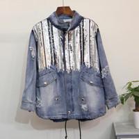 jaqueta jeans contas venda por atacado-Estação europeia no longo parágrafo contas soltas tamanho grande mulheres jaqueta de lantejoulas jeans Y18110501