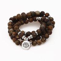 jóias pedantes venda por atacado-Natural retro ônix pulseira 108 mala terceiro olho pedante pulseira ou colar de energia yoga moda feminina ou masculina jóias