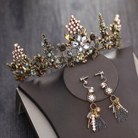 Wholesale handmade gold hair accessories - Jane Vini 2018 Bridal Crowns and Tiaras Gold Pearl With Earrings Wedding Hair Accessories Handmade Bride Headpieces Bruids Haaraccessoires
