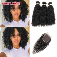 Wholesale kinky hair sale - HOTLOVE Indian Virgin Kinky Curly Hair 3 Bundles with Lace Closure with baby Hair Natural Black Human Hair Wefts with Hot Sale Closure