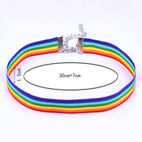 Wholesale gifts for gay men - lace necklace Colorful Rainbow Choker Necklace Clavicle Chain Ribbon For Men Women Lesbian Bisexual Lgbt Gay Pride Simple Jewelry 162572