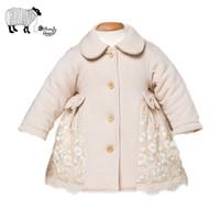 mädchen lange winter polster mantel großhandel-Säuglingsbaby-Mädchen-Winter-organische Baumwolllangarm-Spitze-Jacken-Kleinkind-kleines Baby-starke gepolsterte Mäntel Schneeanzug-Oberbekleidungs-Kleidung