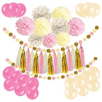 Wholesale gold round balloons resale online - Black Gold Balloon Paper Flower Ball Diy Flag Banner Color Round Piece Birthday Party Decoration Supplies dm ff