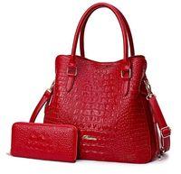 Wholesale handbag crocodile skin - new Women's all genuine leather shoulder bag OL style handbag Present matching wallet crocodile skin bags size:32X12X28CM 3 COLORS