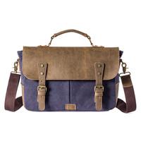 eski tuval deri dizüstü çantası toptan satış-Erkek Vintage Tuval Evrak Çantası Deri Çanta Tote İngiltere Stil Erkek Haberci Çanta Omuz Laptop Çantası Askeri Boş çanta