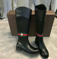bottes au genou rouge mat achat en gros de-Bottes mode pour femmes de haute qualité, chaussures de luxe pour femmes, bottes d'abeille style Martin, bottes Martin (avec boîte)