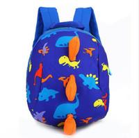çocuklar dizginleri toptan satış-Çocuk Kid Anti-kayıp Sırt Çantası Dinozor Sırt Çantası Bebek Yürüyüş Emniyet Harness Reins Toddler Tasma Sevimli Karikatür Sırt Çantası