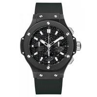 Wholesale big man japan - Japan quartz movement mens watch F1 Luxury Brand Big Bang black face chronograph work HU rubber original strap watch men wristwatches