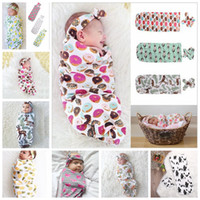 Wholesale baby summer sleeping bag - 9 Colors Infant Floral Cotton Swaddle Blanket 2 Piece Set Sleeping Bags Muslin Wrap+Headband Newborn Baby Pajamas Hairband AAA482