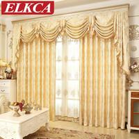 wohnzimmer drapiert vorhänge großhandel-Europäische Golden Royal Luxus Vorhänge Für Schlafzimmer Fenster Vorhänge Für Wohnzimmer Elegante Vorhänge Europäischen Vorhang