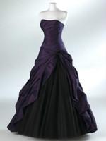 vestido formal sin tirantes plateado al por mayor-Vestido de novia en color violeta / plateado y negro Vestido sin tirantes Una línea Longitud total Cordón en la parte posterior Personalizado Tallas grandes Ocasión formal