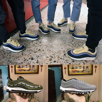 Wholesale diamond sneakers - New 97 Sean Wotherspoon x SUndefeated x Olive Green Crystal diamond Men Running Shoes 2018 High Quality 97s Athletic Sneakers Sport Shoes