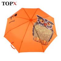 Wholesale Originals Umbrellas - Lightweight Original Animal Owl Printed Automatic 3 Fold Umbrella Women Windproof Sun Protection Clear Kids Umbrella Rain Women