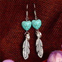 Wholesale feather shaped earrings - H:HYDE Outstanding design jewelry shiny feather shape Natural Stone Lady Women dangle earrings for gift boucle d'oreille femme