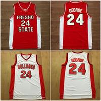 sportmannschaften großhandel-Paul George Jersey 24 College Basketball Fresno State Bulldog Trikots Rot Weiß Farbe Team Alle Genäht Und Stickerei Sport Gute Qualität