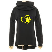 Wholesale print long cotton scarf resale online - Animal Cat Dog Women Winter Hoodies Scarf Collar Long Sleeve Fashion Casual Autumn Sweatshirts Rough Pullovers