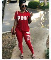 Wholesale Baseball Hoodie For Women - new Women Sportswear Hoodies Love Letter PINK Print Sweatshirt + Pants Two-piece Set Women Jogging Sport Suit for Ladies Leisure Tracksuit