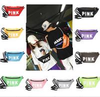 Wholesale one shoulder woven bag - Unisex Pink Fanny Pack Pink Letter Waist Belt Bag canvas Beach Bags Handbags Purses Outdoor Cosmetic Bag summer students bags 14 colors