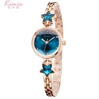Wholesale Women Rhinestone Waterproof Watch - 2018 Fashion Lady Quartz Watches Blue Stars Rhinestone Dress Bracelet Watch for Women relojes de mujer Clock Waterproof Kimio Wristwatches