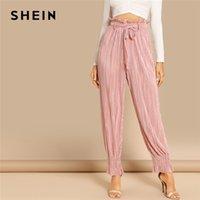 pantalones modernos al por mayor-SHEIN Rosa Oficina Dama Cinturón Corbata Cintura Con Volantes Adornos Nudo Plisado Pantalones Casuales Otoño Elegante Moderno Dama Mujer Pantalones