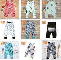 monos babys al por mayor-20 estilos Baby Print Mamelucos Múltiples Diseños babys Cactus Forest Road Recién Nacido Infantil Bebé Niñas Niños Verano Ropa Mono Trajes 3-18M