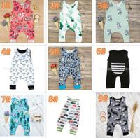 ingrosso babys jumpsuits-20 stili Baby Print Pagliaccetti Multi disegni babys Cactus Forest Road Neonato Neonate Ragazzi Vestiti estivi Tuta Salopette 3-18M