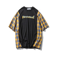 Wholesale plaid shirts short sleeve - Plaid Patchwork Letter Printing Loose Style High Street T-shirt Men 2018 Summer Round Neck Men's Tshirts Short Sleeve Yellow