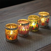 Wholesale glass pillar candle holders wholesale - Classical Mini Candle Holders Creative Handmade Candler Small Cup Shape Glass Mosaic Romantic Wedding Party Candleholder Decor 7zb YY