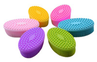 Wholesale shampoo women - Silicone Brush for Baby Shampoo Baby Massage Brush Women Bathing Brushes Infants Touch Feeling Training Tools Soft 2.5cm Brushes
