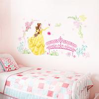 ingrosso case a farfalla per bambini-Bellezza principessa castello battenti uccelli albero fiore floreale altezza misura wall sticker per camera dei bambini casa farfalla decorazione della casa