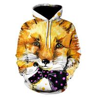 Wholesale animal fox hoodie for sale - Devin Du Fox cute New Fashion Women men Print Animal Hoodie d Print Hoodie Men Hooded Sweatshirt drop shipping