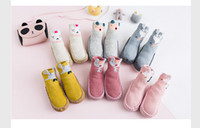 Wholesale girls home sock - 6 Colors Toddler Baby Shoes soft sole Newborn Infant Kids girls fox cute animals home sock shoe with PU leather rubber sole