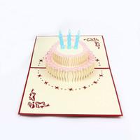 costume feliz aniversário venda por atacado-Cartões 3D Feliz Aniversário Cartão Postal Cumprimento Cartões Postais Vintage Papel Pop Up Corte A Laser Convites Do Vintage Cartão Personalizado