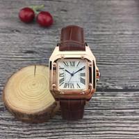 ingrosso la migliore marca orologi per le donne-2018 orologi di moda di lusso unisex donna uomo orologio quadrato 32mm lunetta cinturino in pelle top brand orologi da polso al quarzo per gli uomini della signora miglior regalo
