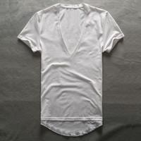 pescoço masculino de v camiseta venda por atacado-Zecmos Profundo Decote Em V T-Shirt Dos Homens Simples Com Decote Em V Camisas Para Homens 2017 Moda Compressão Top Tees Masculino Presentes Dia Dos Pais