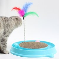 ingrosso gatto rosa caldo-Vendita calda Bergan Turbo Scratcher Cat Toy Cats Kitten Scratcher Blu o rosa Toy Training Diamater 30cm