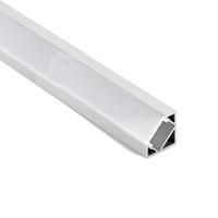 iluminación de tira de aluminio al por mayor-100 X 2 M conjuntos / lote perfil de aluminio de 30 grados de ángulo de forma llevó la luz de tira Tipo V llevó el canal de aluminio para la luz del armario del led