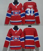 carey price çocuk formaları toptan satış-2018 Erkek Kadın Gençlik Çocuklar Montreal Canadiens 31 Carey Fiyat Boş Kırmızı Formalar Tüm Stiched Hokey Forması Boy Kızlar