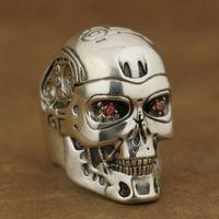 terminador rojo al por mayor-LINSION Hecho a mano 925 Sterling Silver Red CZ Eyes Terminator Mens Biker Robot Ring TA80 US Tamaño 8 a 13