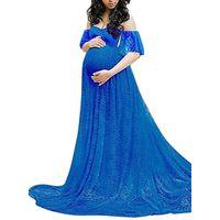 off shoulder analık elbiseleri toptan satış-Annelik Elbiseler Annelik Fotoğrafçılık Omuz Kapalı Seksi Dantel Fantezi Gebelik Elbiseler Fotoğrafçılığı Elbise Fotoğrafçılığı Elbise