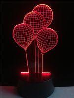 Wholesale floral light fixtures - Novelty Balloon USB 3D Night Light Led Table Desk Lamp As Home Decor Gradient Romantic Baby Sleep Light Fixture