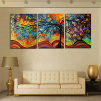 Wholesale Triptych Abstract Paintings - wholesale Diamond Painting Cross Stitch Kits Full Diamond Embroidery 5D Square Diamond Mosaic Home Decor Rich Tree 3pcs triptych HD013