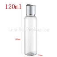 tapa de la botella de aceite de aluminio al por mayor-Botella plástica vacía redonda del ANIMAL DOMÉSTICO de 120ml X 50 con el casquillo de disco de aluminio de plata del tornillo, aceite DIY botellas SPA envase 120g