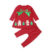 xmas ağacı elbisesi toptan satış-Bebek Kız Noel Kıyafetleri Çizgili Noktalar Fırfır Fırfırlar Şerit Bowknots Xmas Kardan Adam Elk Santa Ağacı Aplike Oyalamak Tutu Elbiseler Pantolon
